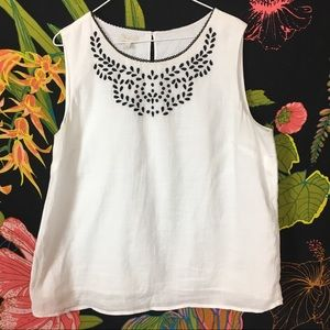 TALBOTS / White + Black tunic blouse